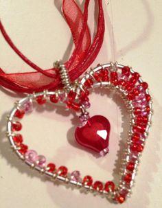 Valentine's Red Beaded Heart Pendant
