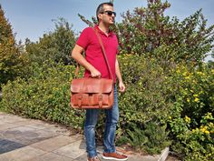 Full Grain Leather Briefcase, 15 inch Laptop Bag. Handmade in Greece. 100% Genuine Leather. by LeatherStrata on Etsy