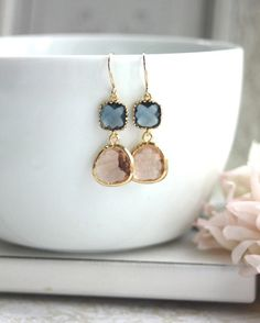 ♥´¨) ¸.•´ ¸.•*´¨) (¸.•´ ♥ ~ These are beautiful and sweet pair of earrings made of gold trimmed champagne peach color glass drops paired with gold trimmed montana blue square connectors. This makes a lovely gift for your loved one, family, friends, best friends, bridesmaids, maid of honor
