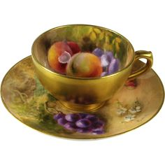 This Royal Worcester Miniature Cabinet Fruit Cup and Saucer Signed Ricketts is offered by The Vintage Jewelry Boutique on Ruby Lane