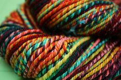 """weekendknitter:    textiledreams:    """"Supercolorfragilistic"""" bulky handspun  Chain ply but the color sections were too short for it to show"""