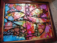 Alcohol inks with large glass pieces