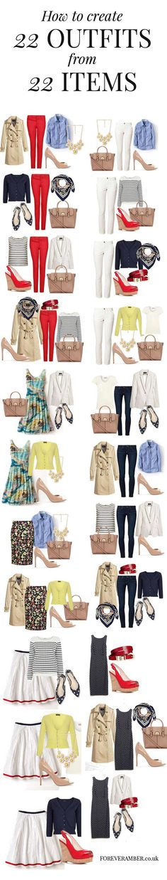 how to create 22 outfits from 22 items - plus more capsule wardrobes