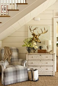 Dresser for hallway Checker chair under the stairs