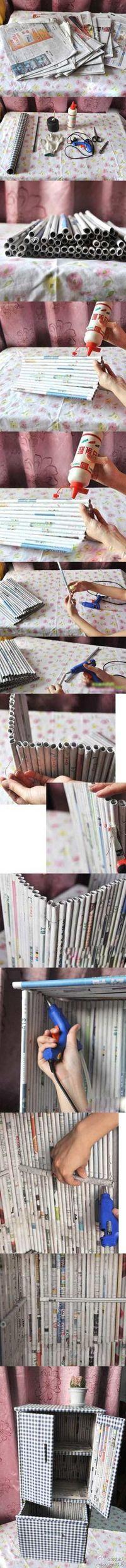 newspaper diy project Flor. mueble p equipo.