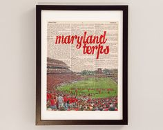 A Maryland Terps print of Byrd Stadium printed on vintage dictionary paper. This is a perfect gift for the Terps fan in your life, and ready just in