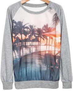 Grey Long Sleeve Dusk Print Sweatshirt 18.00