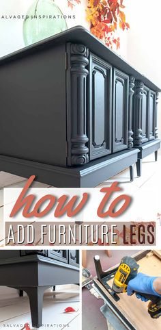 How To Add Furniture Legs | Adding Legs to Table Tutorial| Salvaged Inspirations #siblog #salvagedinspirations #paintedfurniture #furniturepainting #DIYfurniture #furniturepaintingtutorials #howto #furnitureartist #furnitureflip #salvagedfurniture #furnituremakeover #beforeandafterfurnuture #paintedvintagefurniture #roadsiderescues