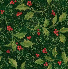 Holiday Inspirations Fabric-Holly Vine Scroll