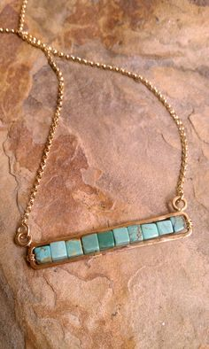 Turquoise Bar Necklace Genuine Turquoise Cube beads and Yellow Gold Fill Chain Also Available In Sterling Silver And Choice of Stones Copper Jewelry, Wire Jewelry, Body Jewelry, Gemstone Jewelry, Beaded Jewelry, Jewelery, Handmade Jewelry, Jewelry Necklaces, Bracelets