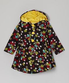 Look what I found on #zulily! Black & Yellow Floral Hooded Swing Coat - Infant & Toddler #zulilyfinds