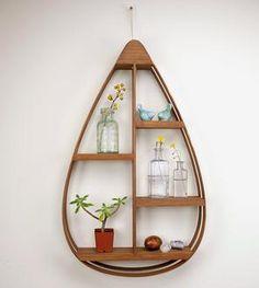 Wood Teardrop Shelf, 4 Shelves