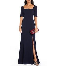 68d70b8bd1 Adrianna Papell Scalloped Square Neck Crepe Slit Leg Gown. Formal Dresses  For ...