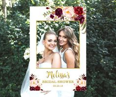Personalized Bridal Shower Photo Booth Frame, Bordeaux Burgundy Gold Boho Floral, Photo Prop Frame, 24x36, A1, Printable File, B61