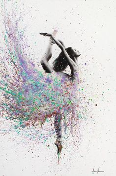 'Opal Dance' Poster by Ashvin Harrison Ballerina Painting, Ballerina Art, Ballet Art, Ballet Dance, Abstract Canvas, Oil Painting On Canvas, Canvas Art Prints, Rock Painting, Dance Photos