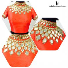 Top Beautiful Mirror work Blouse Designs Latest designs :- Mirror work blouse designs have become fashion now. When a mirror work blouse is combined with a plain saree it will give stunning a… Indian Blouse, Indian Wear, Mirror Work Blouse Design, Maggam Work Designs, Hand Work Embroidery, Saree Blouse Designs, Blouse Patterns, Designer Wear, Plain Saree