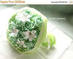 30%OFF-SpringSale Origami Flower Art Bouquet / Mint by Inorigami