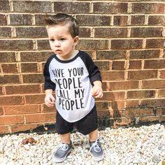 Funny Baby, Toddler, and Kids T Shirt, Have your people call my people™, Raglan Sleeve Baseball Tee, Cute Clothes, Gifts, Liv & Co.™ - Liv & Co.