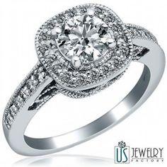 1.19 TCW Round Cut Diamond Engagement Ring Vintage Design 14K White Gold