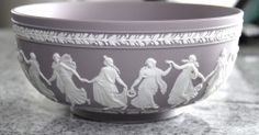 WEDGWOOD BOWL LILAC Jasperware DANCING HOURS  8 x 4 in