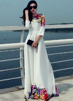 Vestido Longo 2015 Brand New Autumn Spring Elegant Evening Party Dresses Print Patchwork Women White Formal Dresses Long Dress-in Evening Dresses from Weddings & Events on Aliexpress.com | Alibaba Group