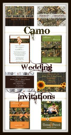 Camo Wedding Invitations for a rustic country hunting theme wedding.  Hundreds of camouflage wedding invites to choose from.  Easy to customize templates.   Camo Designs on the front and the back.  Design your own camo wedding invitations as unique as you are!
