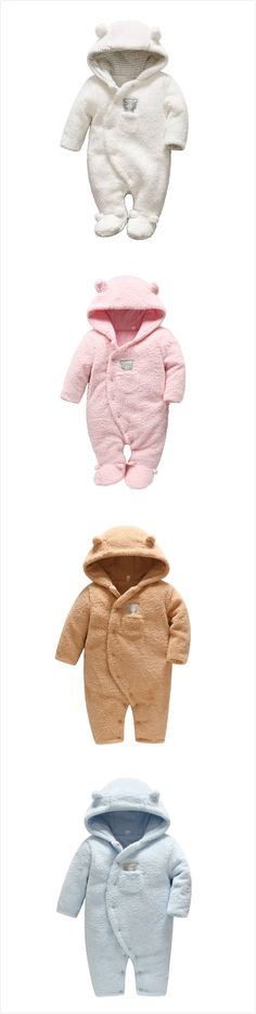 Winter Baby Boy Girl Hooded Warm Jumpsuit Infant Toddler Footed Romper For Unisex