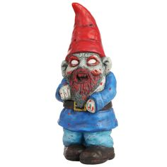 Zombie Garden Gnome - This infected ornament will have your friendly garden gnomes running for cover. Made from handcrafted terracotta and weather-resistant paint, the Zombie Gnome will brave the elements to protect your back garden from intruders.