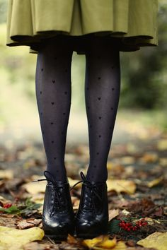 Green skirt, heart tights, and oxfords