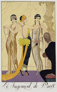 Art Deco influences became popular in the when the geometric lines of many garments can be seen to echo Art Deco style lines. Art Deco fashion can be observed in many fabric prints, embroideries, beaded decorations, and jewelry. Arte Art Deco, Moda Art Deco, Estilo Art Deco, Art Deco Era, 1920s Art Deco, Art Deco Posters, Vintage Posters, Vintage Art, Vintage Jewelry
