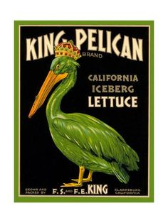 Green Pelican Crate Label Art Print