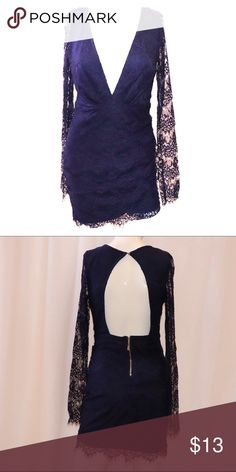 43d81dec2f Navy Blue Lace Mini Dress Worn Once lace long sleeve Navy Blue dress with  open back