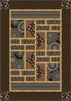 "Check out our FREE ""Amber Dreams"" quilt pattern using the collection, ""Origins"" by Jennifer Young from Benartex. Designed by Stitched Together Studios. Finished size: 47"" x 67""."