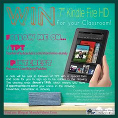 Win a FREE KINDLE for your classroom by following me on TPT and Pinterest! mandyfyhrie.com