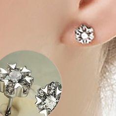 925k Sterling Silver Snowflake Studs Earrings