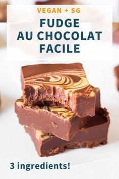 This Vegan Chocolate Peanut Butter Fudge is made with only 3 ingredients and comes together in 5 minutes. It's fudgy, chocolatey, healthier than most fudge recipes and delicious. Vegan, gluten-free, oil-free and refined sugar-free. Easy Chocolate Fudge, Chocolate Peanut Butter Fudge, Healthy Chocolate, Chocolate Desserts, Vegan Peanut Butter, Chocolate Tarts, Fudge Recipes, Vegan Sweets, Healthy Dessert Recipes