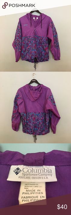 vintage columbia wind breaker 🌱 Vintage purple windbreaker with fun design. Has hood, one zipper pouch in front, and pockets on the sides. In great condition! Columbia Jackets & Coats