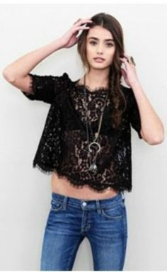 New $228 Joie lace fanny top blouse Sz XS S M L in black #JOIE #Blouse
