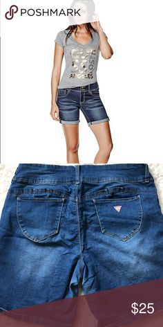 ae5dd85484 Guess denim shorts Guess denim mid rise, stretch denim Bermuda shorts with  rolled cuffs and bottom tabs Guess Shorts Bermudas