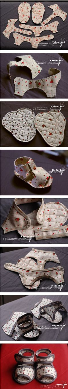 20 DIY Baby Shoes Ideas With Free Patterns and Instructions Como hacer zapatos de bebe con tela reciclada Baby Shoes Pattern, Shoe Pattern, Baby Patterns, Sewing Patterns, Doll Clothes Patterns, Baby Sandals, Baby Booties, Booties Crochet, Crochet Hats