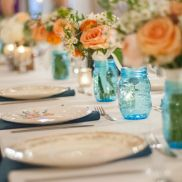 Allison and Josh : Samary Plantation, Nashville, TN. Tables set with vintage china, blue mason jars filled with peach roses and baby's breath. http://angelwingsphoto.wordpress.com/2013/11/15/allison-and-josh-kicking-up-the-dust-into-the-night/