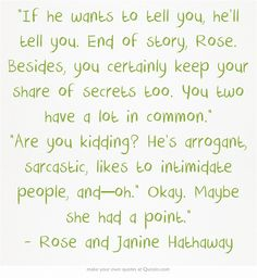 Vampire Academy Quotes | Rose and Janine Hathaway