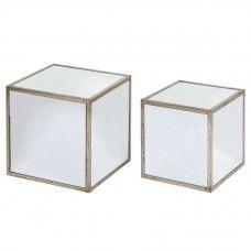 """LOT DE 2 TABLES GIGOGNES CUBES collection """"BOIS MIROIR"""""""