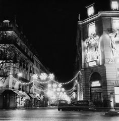 Rue Royale lit up with winter stars at night in 1966 is like a dream. | 13 Magical Vintage Photos Of Paris At Christmastime