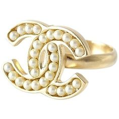 Pre-owned Chanel Signature Logo Ring, Faux Pearl #6