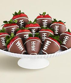 12 Hand-Dipped Football Strawberries - cute idea for a game day party