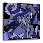 3dRose Blue Elephant Abstract, Wall Clock, 15 by 15-inch