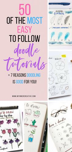 """50 amazing doodle """"How to's"""" for your bullet journal Bullet Journal Junkies, Bullet Journal Ideas Pages, Bullet Journal Inspiration, Bullet Journals, Doodle Drawings, Easy Drawings, Planner Stickers, Bujo Doodles, Easy Doodles"""