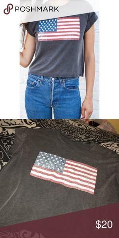 brandy melville alien flag tee great condition // has a very distressed look Brandy Melville Tops Tees - Short Sleeve