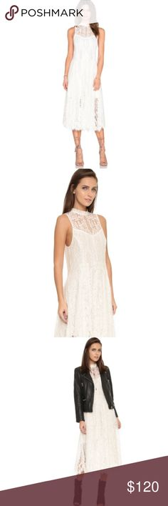Free People Angel Rays Trapeze Lace Dress A diaphanous Free People dress in sweet lace. Pleats accent the skirt. Scalloped hem. Sheer yoke. Sleeveless. Hook and eye neckline and hidden side zip. Lined. Ivory. Ships same day from a smoke free home! Free People Dresses Midi